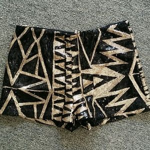 Party Shorts Golden Black Sequins Abstract Print